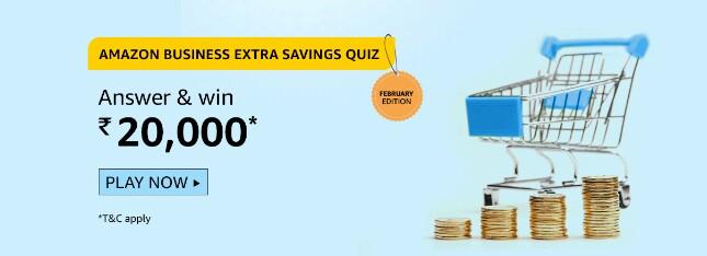 Amazon Business Extra Savings February Edition Quiz Answers